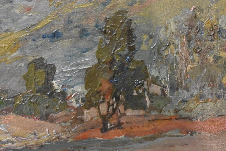 Original Oil On Canvas California Artist Edward Holslag Landscape Countryside In Good Condition For Sale In Toledo, OH