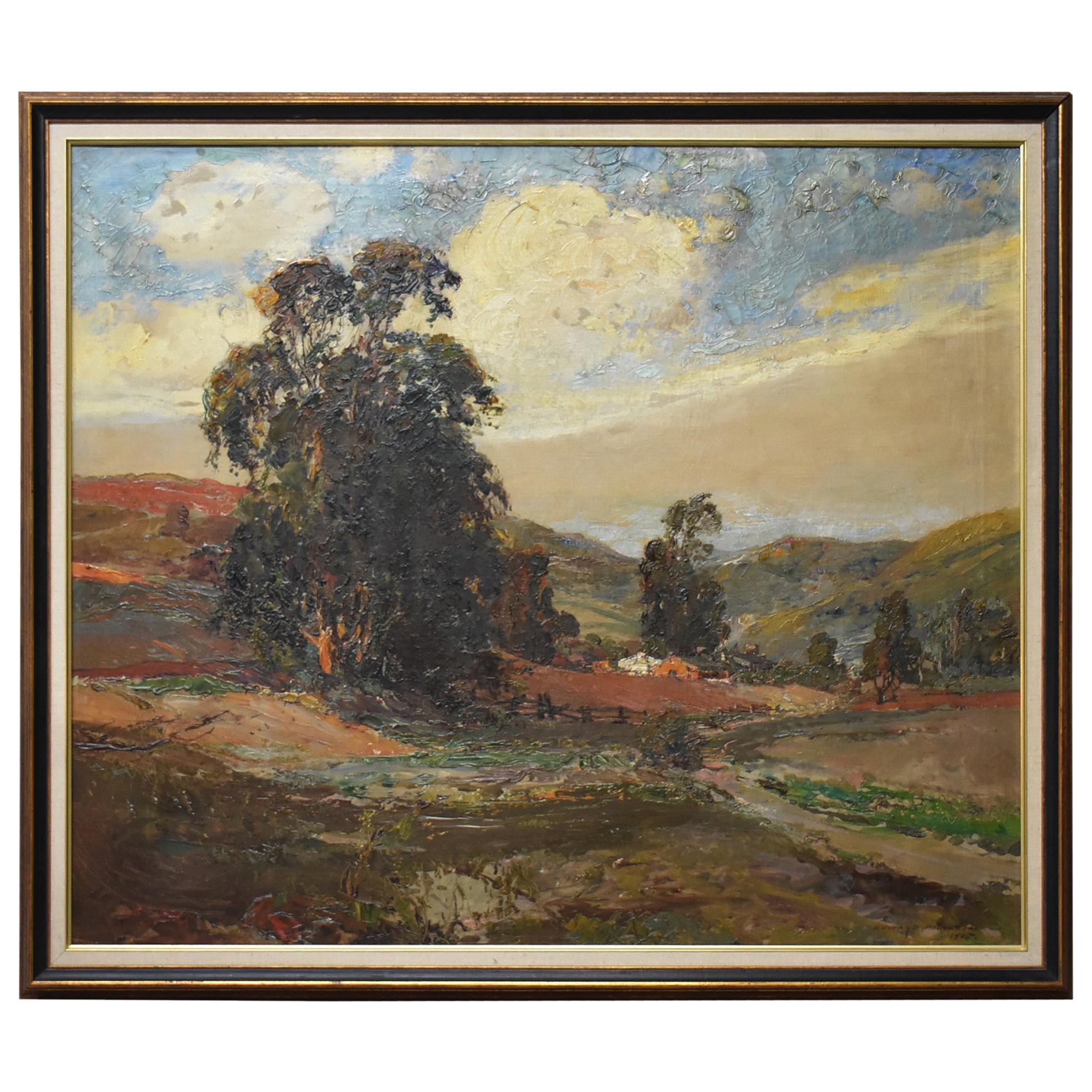 Original Oil On Canvas California Artist Edward Holslag Landscape Countryside