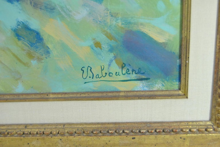 Beautiful colorful original oil on canvas by French artist Eugene Baboulene, circa 1960. Titled