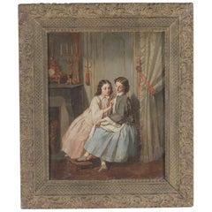 Original Oil on Canvas Interior Scene Two Young Women Sharing A Secret  Mid 1800