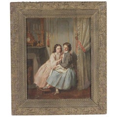 Original Oil on Canvas Interior Scene Two Young Women Sharing a Secret Mid-1800
