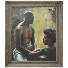 Original Oil on Canvas Michigan Artist Russell Steinke African American Couple