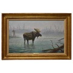 Original Oil on Canvas Moose & Hunter by Gregory Perillo