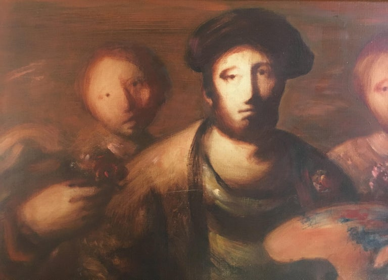 French Sylvain Vigny Original Oil on Canvas Figurative Painting, Signed