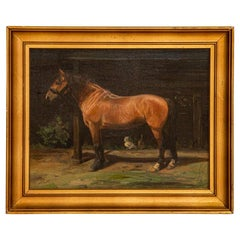 Original Oil on Canvas Painting of Bay Horse, Signed and Dated 1897