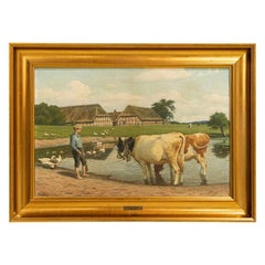Original Oil on Canvas Painting of Boy w/Cows in Pasture, Signed Poul Steffensen