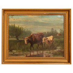 Original Oil on Canvas Painting of Cows at Pond, Signed a.B.Morgan