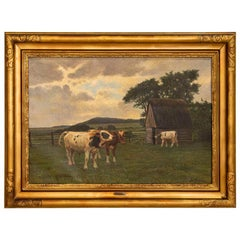Original Oil on Canvas Painting of Cows in Pasture, Signed Poul Steffensen from