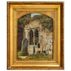 Original Oil on Canvas Painting of Exterior with Easel Signed Isidor Kahcker