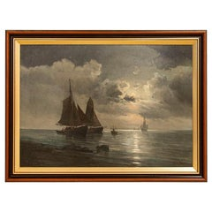 Original Oil on Canvas Painting of Sail Boats Under Moon, Signed Vilhelm Bille