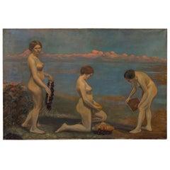 Original Oil on Canvas Painting of Three Female Nudes