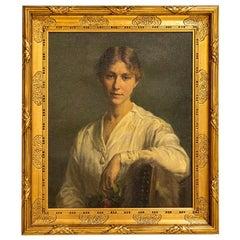 Original Oil on Canvas Portrait of Ellen Emilie Henius, Signed by K Larsen