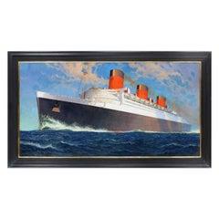Original Oil on Canvas, 'R.M.S Queen Mary, Cunard White Star', 1936