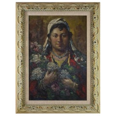 Original Oil on Canvas Woman with Flowers by Artist Ibrahim Safi Framed