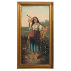 "Original Oil on Canvas, Young Gypsy Woman with Stick, Signed ""Malasin"""