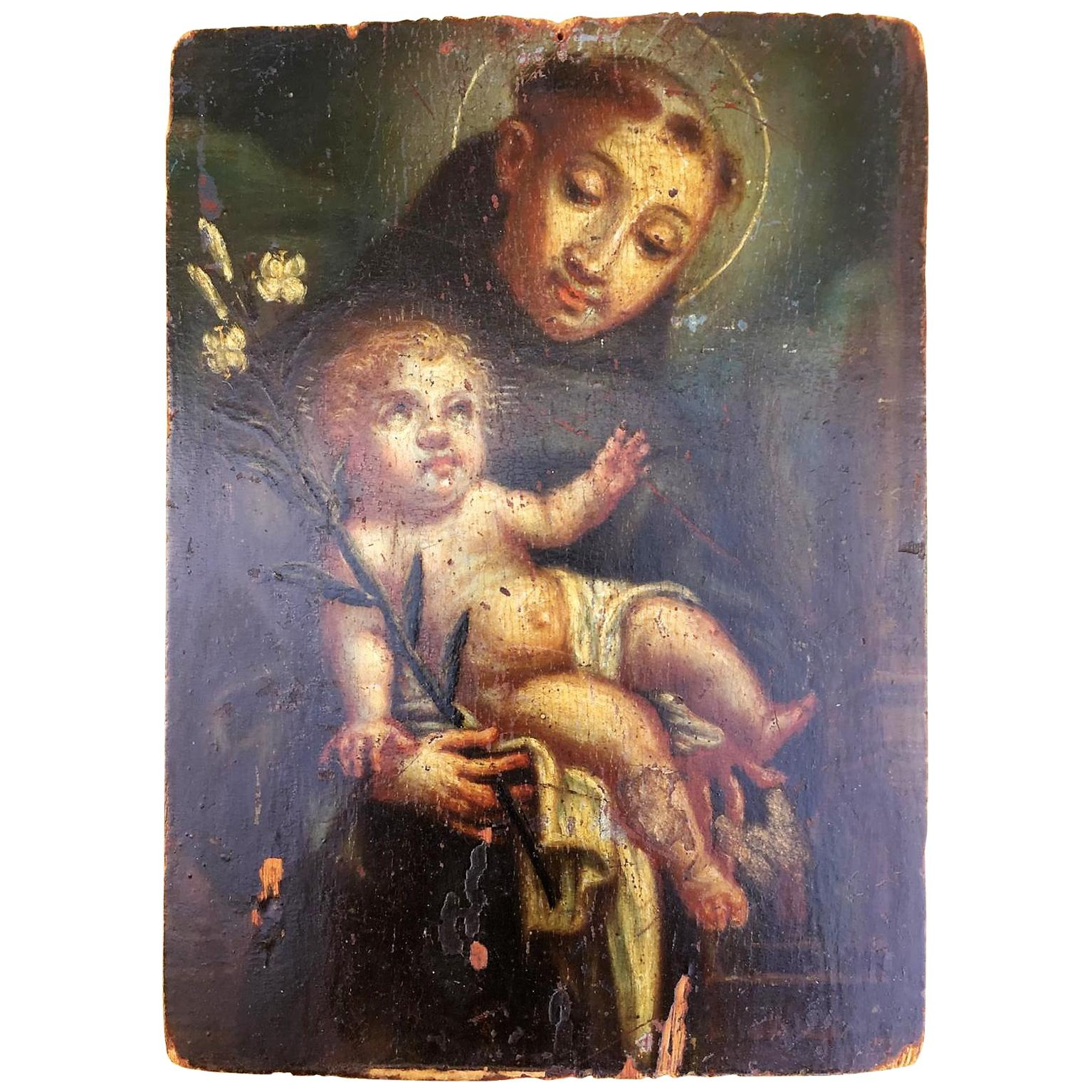 Original Oil on Wood Panel of St. Anthony of Padua
