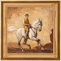 Original Oil on Panel Painting of Trainer on a White Race Horse, Signed John Sjo
