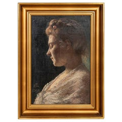 Original Oil on Wood Board Portrait of Woman in White Lace, Signed Han Michael T
