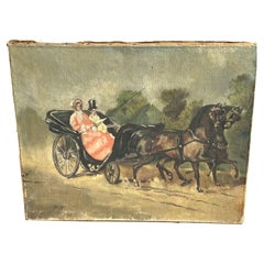 Original Oil Painting, a Couple in a Horse Team by French Painter Bousquet