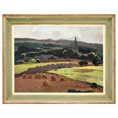 Original Oil Painting Ardennes Landscape Art Deco Jean Van Crombrugge, 1940