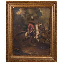 Original Oil Painting Battle Scene of Polish Officer on Horseback