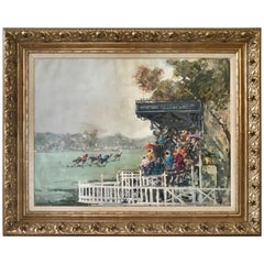 Original Oil Painting Equestrian Horse Races Polo Signed F. Sarti