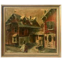 """Original Oil Painting Location of the 1957 Movie """"Peyton Place"""" with Lana Turner"""