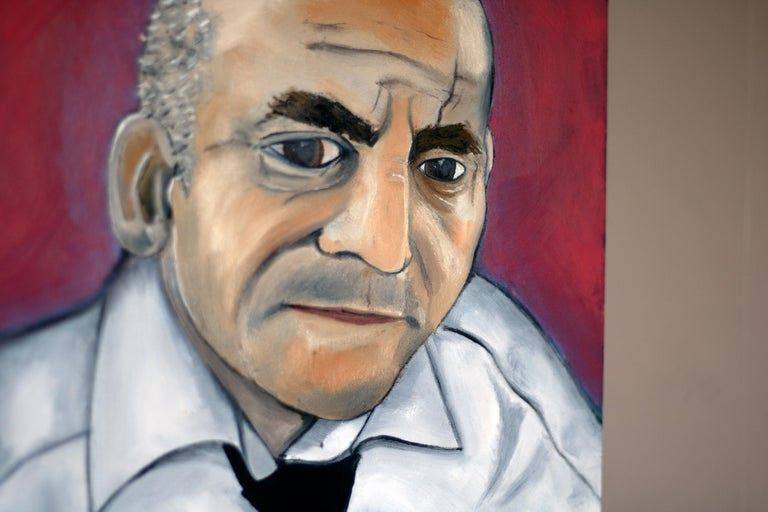 Modern Original Oil Painting of Bar Basso Bartender For Sale