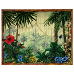 Original Oil Painting of Palm Trees & Flora