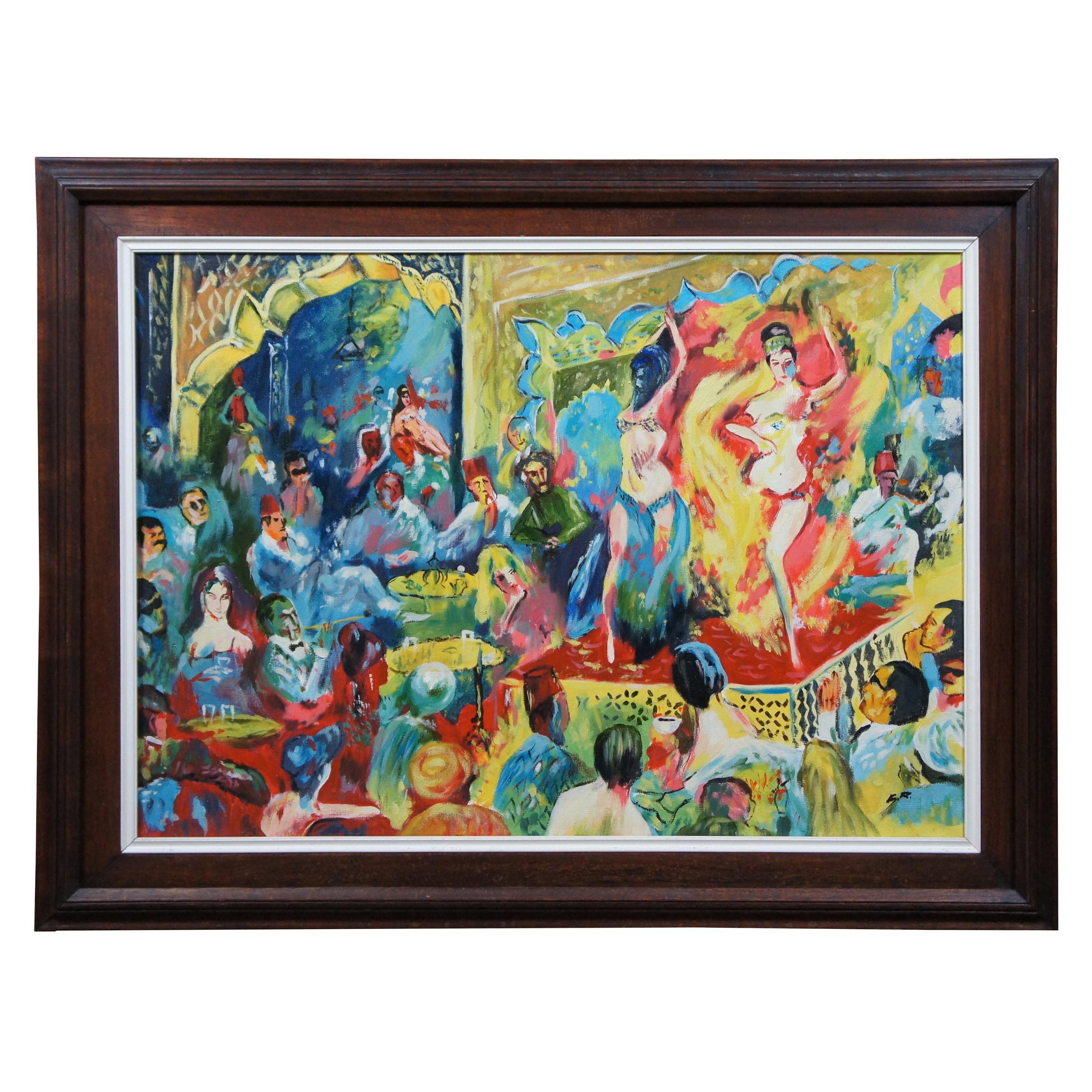 Original Oil Painting on Canvas Belly Dance Scene Expressionist Middle Eastern 3