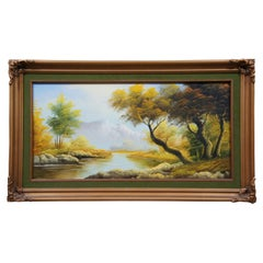 Original Oil Painting on Canvas by Campillo Autumn River Mountain Landscape