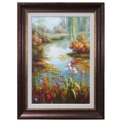 """Original Oil Painting on Canvas Lake Scene Water Lily Floral Marsh Realism 47"""""""