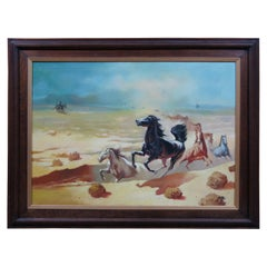 Original Oil Painting on Canvas Running Wild Horses Desert Landscape Western