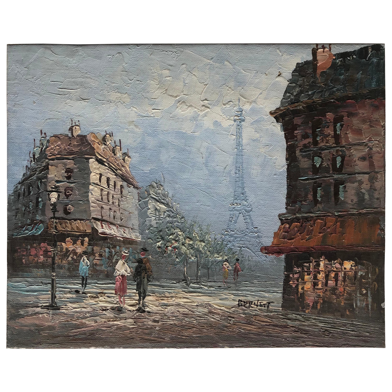 Original Oil Painting Paris Eiffel Tower by Caroline Burnett, Signed
