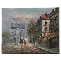 Original Oil Painting Paris Street Scene by Caroline Burnett, Signed