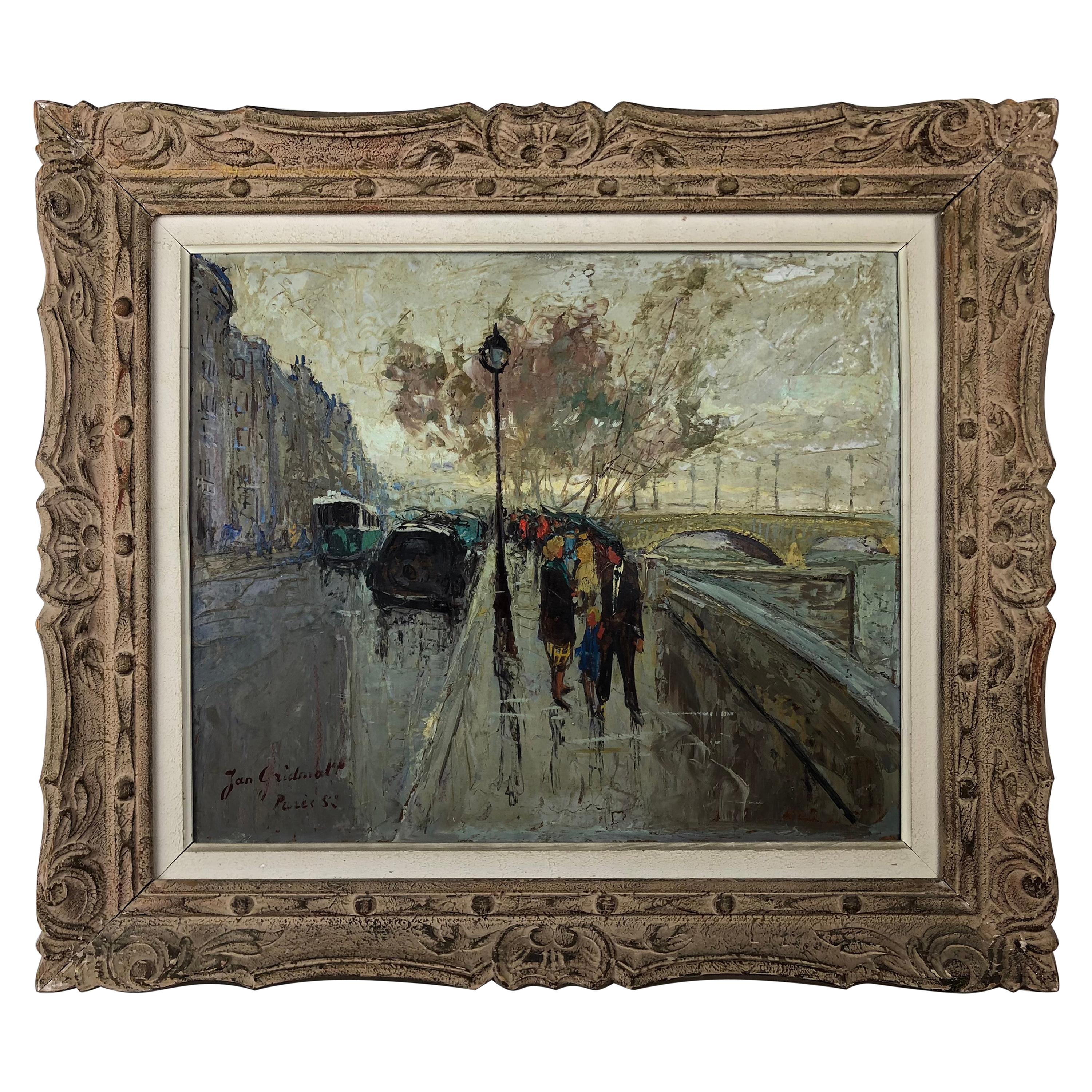 Original Oil Painting Paris Street Scene by Jan Gridmall, Signed and Dated 1952