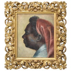 Original Oil Painting Profile Portrait Moroccan Man Carved Italian Frame