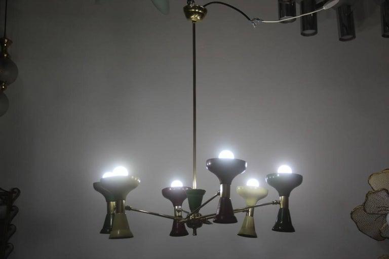 Original old chandelier Italian design 1950s lacquered metal, made of brass, parts in enameled aluminium, original 1950s, Stilnovo attributed.
