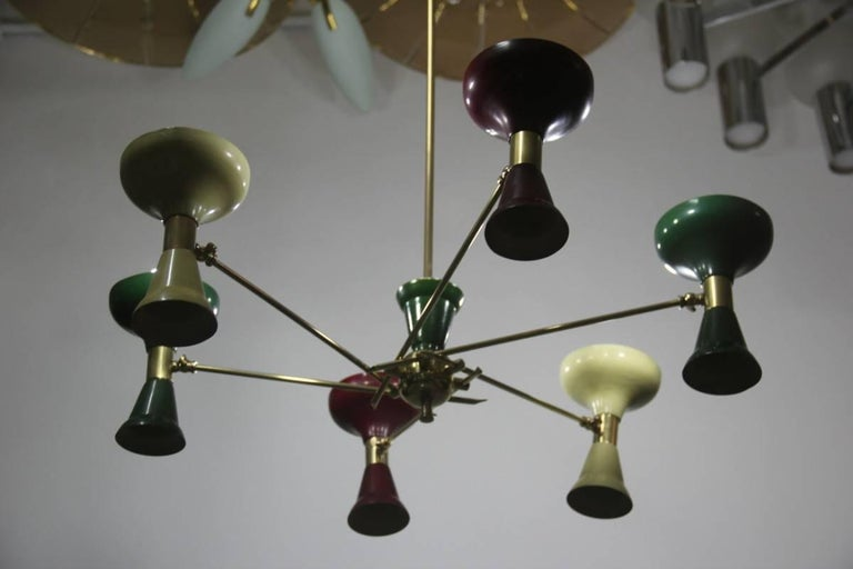 Mid-Century Modern Chandelier Brass 1950s Lacquered Metal Stilnovo Italian  In Good Condition For Sale In Palermo, Sicily
