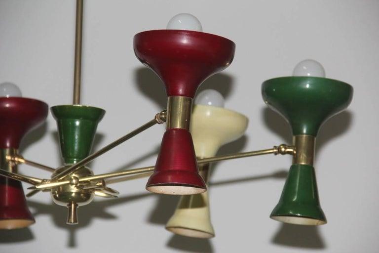 Mid-20th Century Mid-Century Modern Chandelier Brass 1950s Lacquered Metal Stilnovo Italian  For Sale