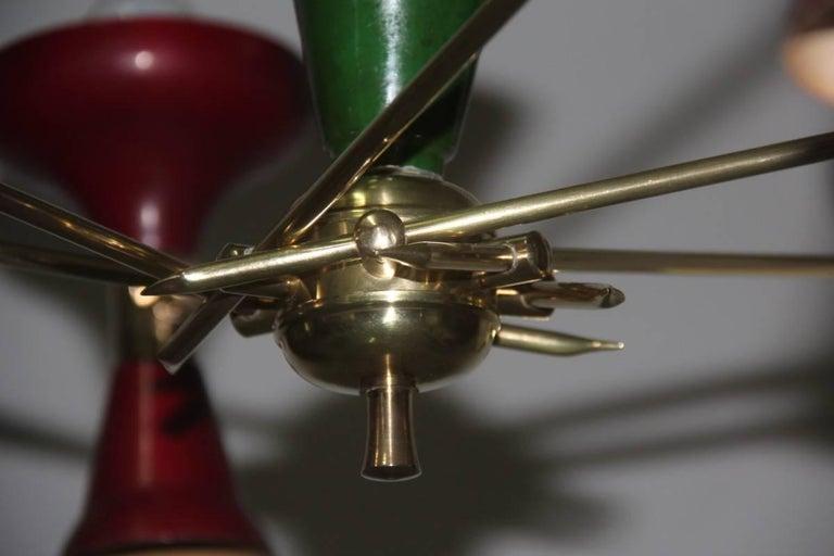 Aluminum Mid-Century Modern Chandelier Brass 1950s Lacquered Metal Stilnovo Italian  For Sale