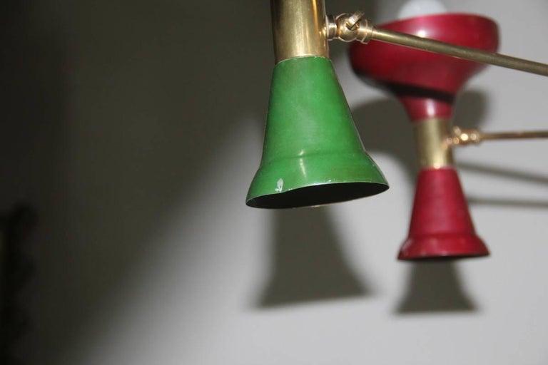 Mid-Century Modern Chandelier Brass 1950s Lacquered Metal Stilnovo Italian  For Sale 1