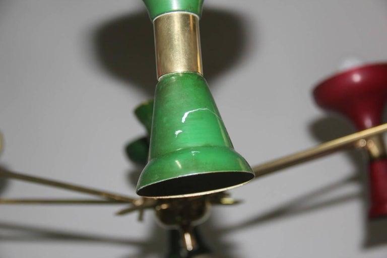 Mid-Century Modern Chandelier Brass 1950s Lacquered Metal Stilnovo Italian  For Sale 2