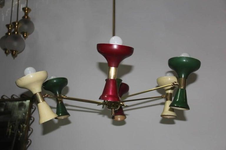 Mid-Century Modern Chandelier Brass 1950s Lacquered Metal Stilnovo Italian  For Sale 3