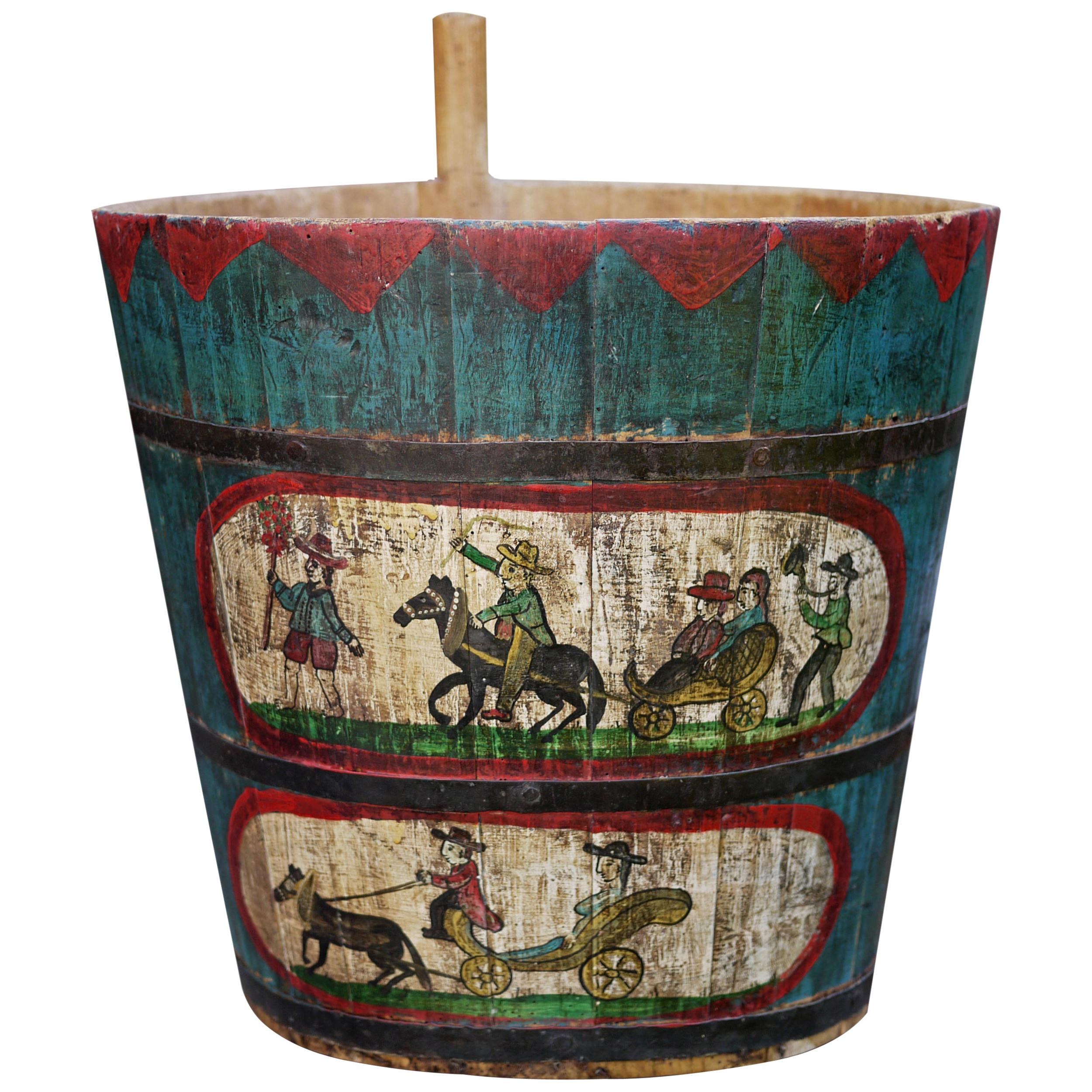 Original Old Painted Storage Basket, Hand Decorated