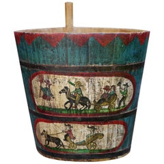 Original Old Painted Storage Basket, Hand Decorated
