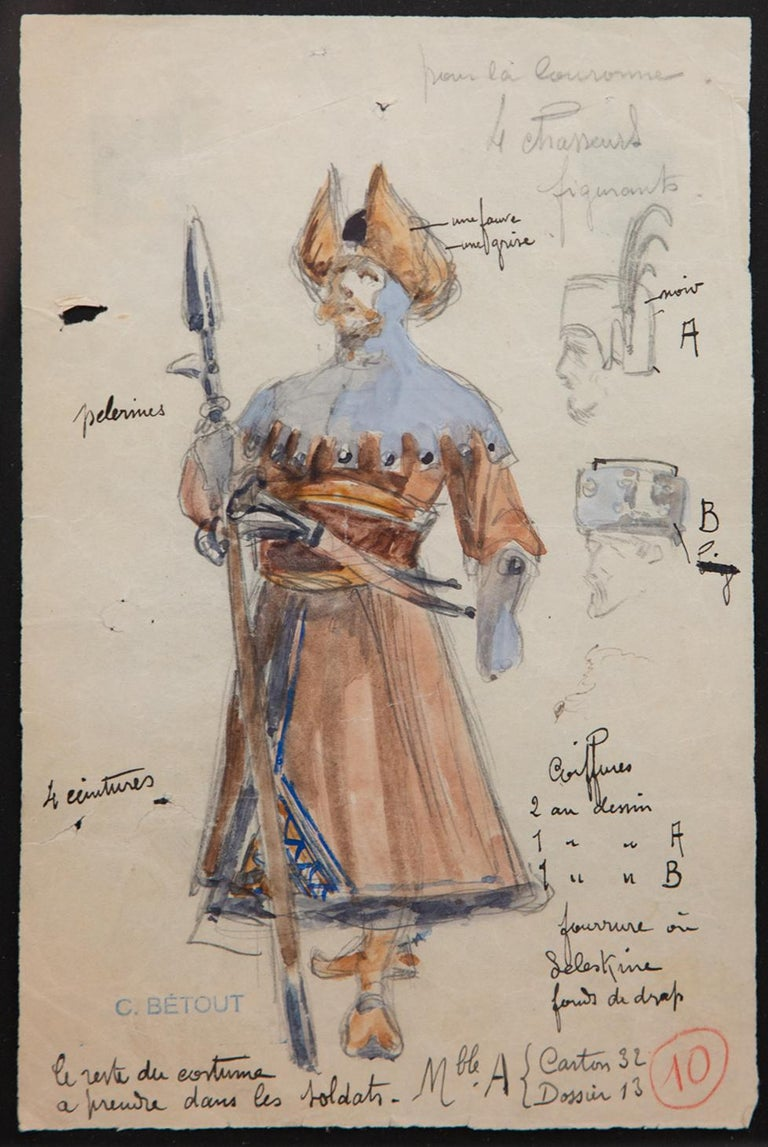 Charles Betout was the principal costume designer for the Comedie-Francaise in Paris for twenty years until his death in 1939. This is costume was designed for the 1926 production of