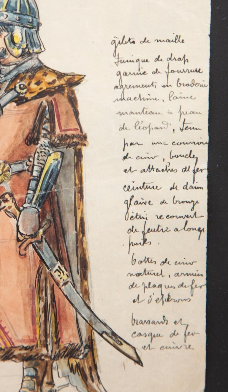 Napoleon III Original Opera and Theatre Costume Watercolor Design by Charles Betout, Paris For Sale