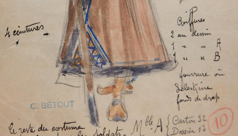 Napoleon III Original Opera and Theatre Costume Watercolor Design by Charles Betout, Paris For Sale