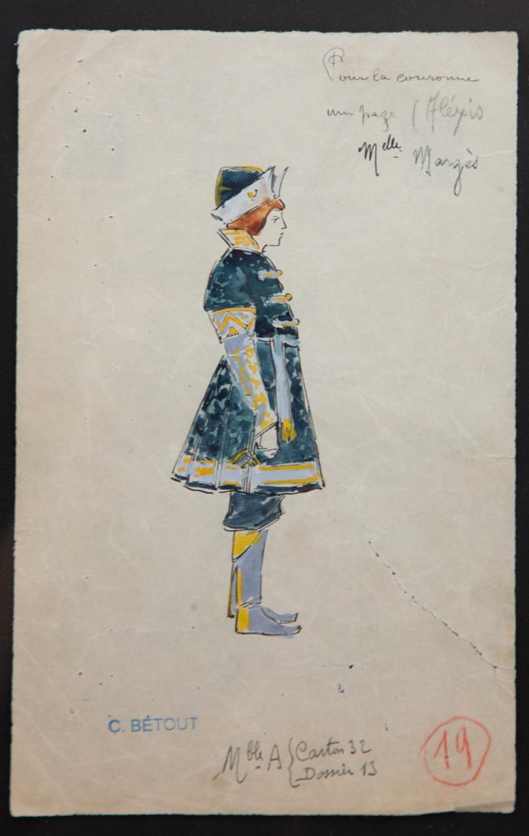 Napoleon III Original Opera and Theatre Costume Watercolor Design by Charles Betout, Paris